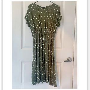 Mango easy green dot dress. Size 8